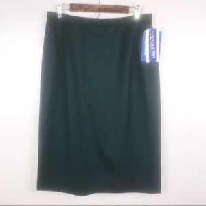 PENDLETON Green Wool Straight Pencil Skirt